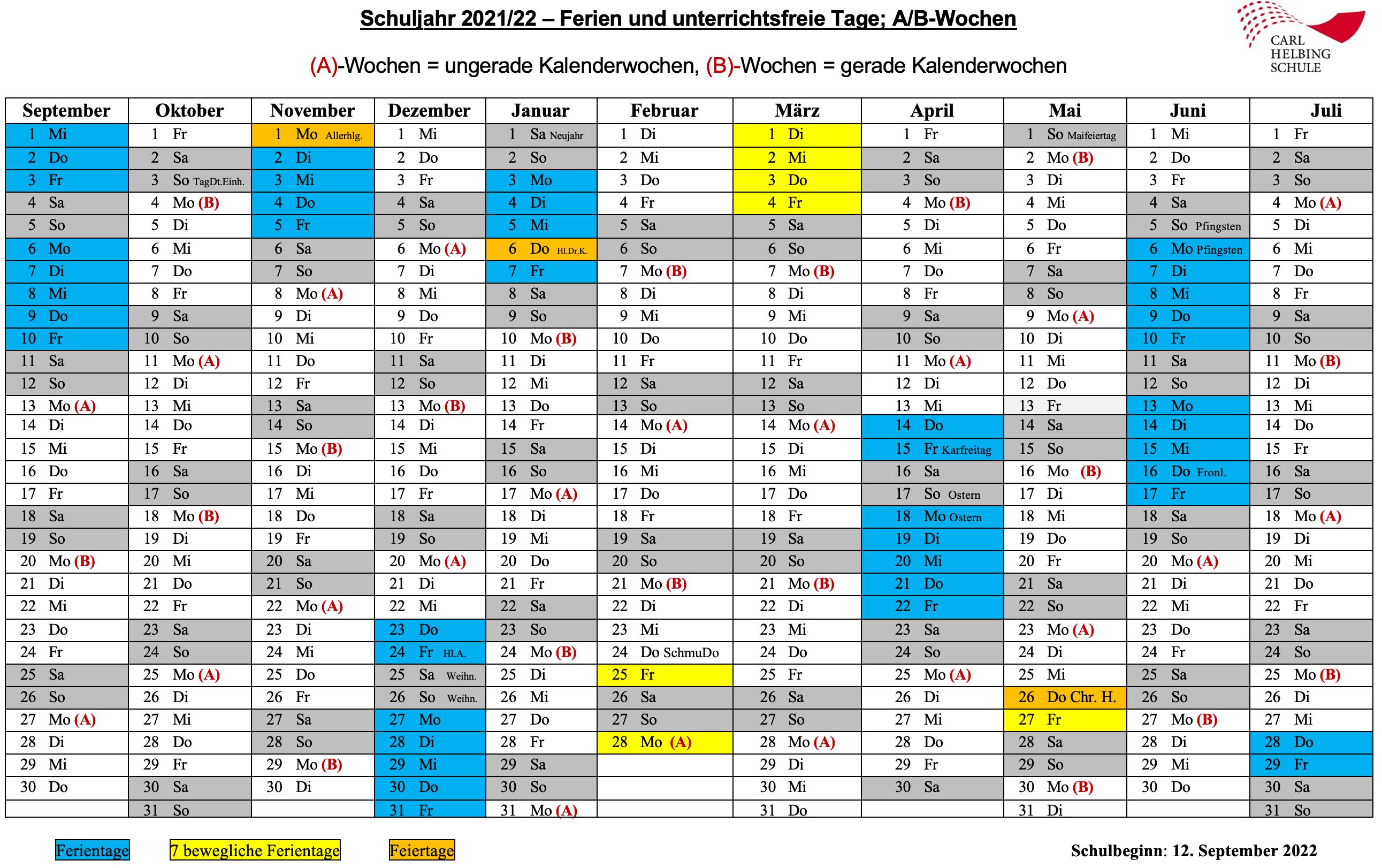 A/B-Wochenplan + Ferien, Schuljahr 2021/22